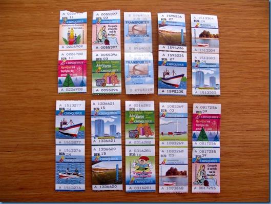 02 Algunos tickets del autobús a Chinquihue